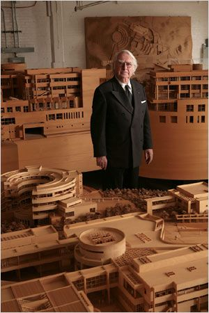Richard Meier with wooden Architectural models.
