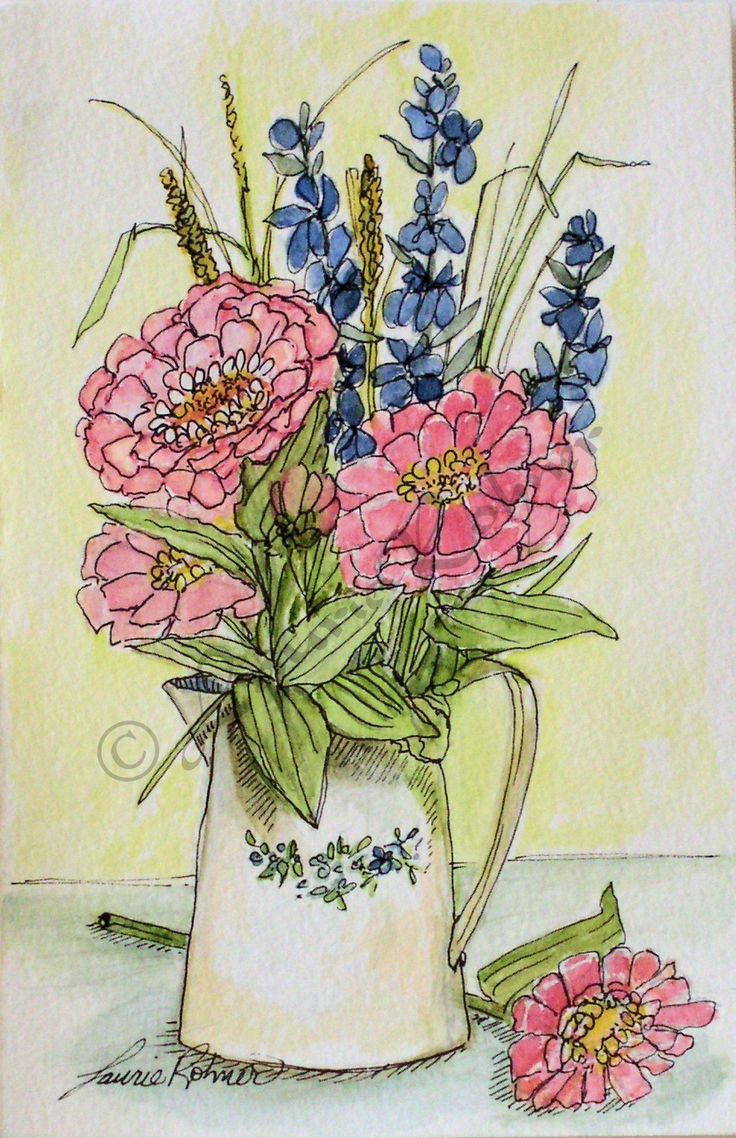 Great fun watercolor illustration of pink zinnias in a pitcher. I think zinnias wearing happy faces. Pink zinnias and blue larkspur arranged in a white antique pitcher is the essence of farmhouse life.