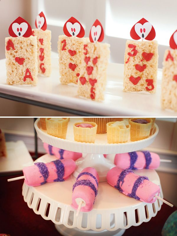 Whimsical Alice in Wonderland Birthday Party. The cheshire cat tails made from marshmallows are awesome.