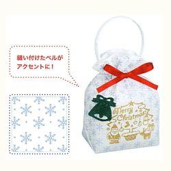[業務用]不織布バック1枚クリスマスリボンバック2白クリスマスのプレゼント(クリスマスプレゼント)やお菓子のラッピングに。おしゃれでかわいい不織布の袋(サンタ/サンタクロース/手提げ袋/ラッピングバック)激安の包装用品(ラッピング用品/クリスマス用品)