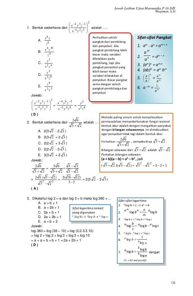 Jawab Latihan Ujian Matematika P 1a Diy Wagiman S Si 1 Sifat Sifat Pangkat 1 Am An Am N 2 N M A A Am N 3 Dan Learning Sinusitis