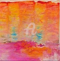ORAGE ORANGE - Peinture,  20x20 cm ©2011 par Fabienne Martin -                            Art abstrait, orage orange, peinture moderne abstraite, tableau carre, carré, artiste en direct, achat peinture, peinture discount, home decor, reproduction, carré acrylique, violet et jaune, dessin carré, peinture carrée, acrylique, coll
