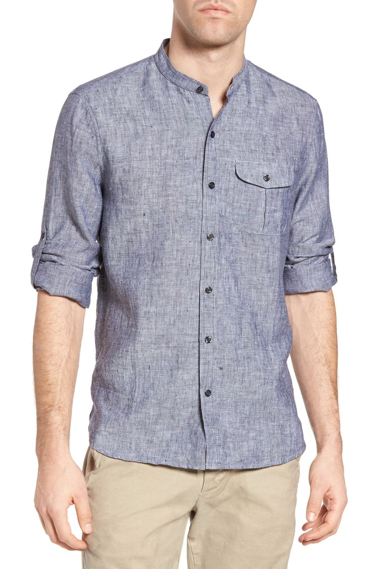 New Michael Bastian Band Collar Linen Sport Shirt ,DEEP DEPTHS fashion online. [$168]top10shopping top<<
