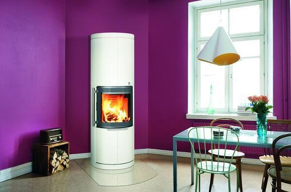 Our beloved Kaira design stove, now also in white.  #tulikivi #kaira #fireplace #stove #interior #design #heating #woodburning