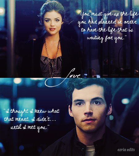 Stop! {Ezra and Aria} {Pretty Little Liars} these guys need to bet back together! Ezria is so perfect