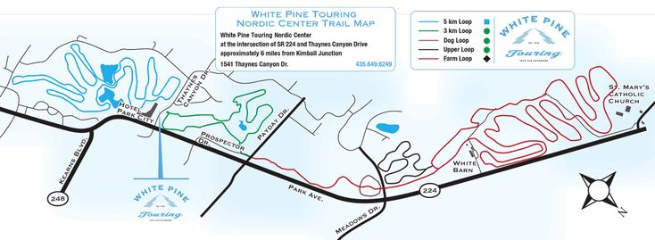 Cross Country Ski Track Trail Map from White Pine Touring in Park City, Utah