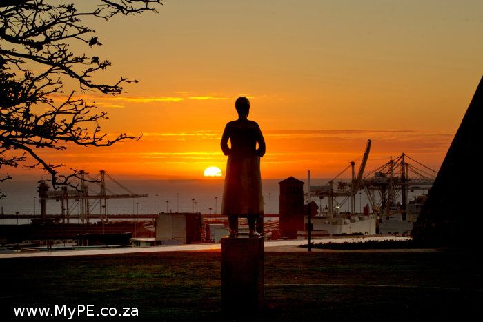 The sun rises over the Donkin Reserve and the city named for love - Port Elizabeth.