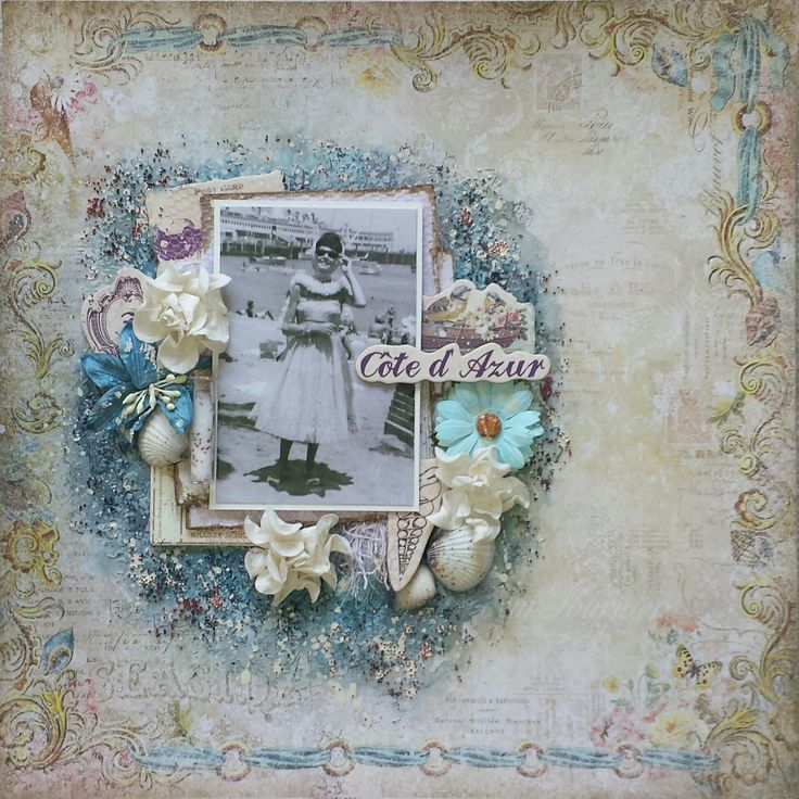 """French Riviera Mixed Media Scrapbook Layout with Video Tutorial using the Scraps of Elegance """"by the sea"""" kit for August, 2016"""