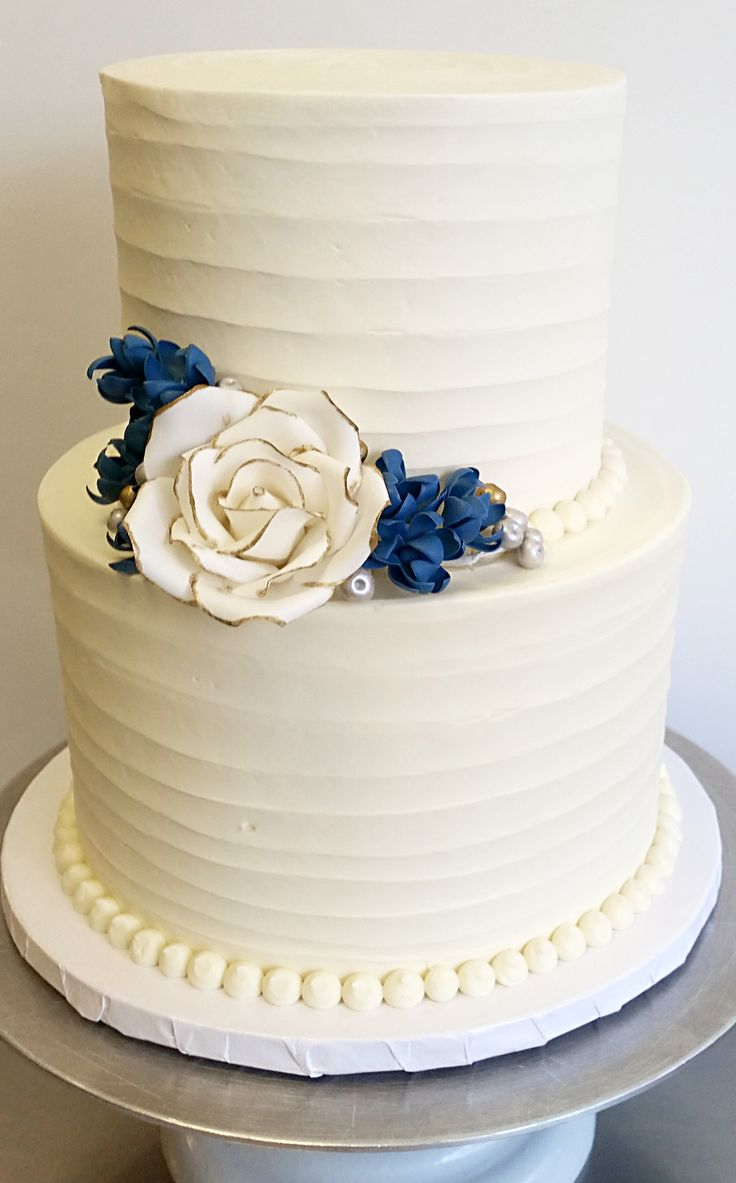 Textured Buttercream With Gum Paste Rose And Blossoms 2