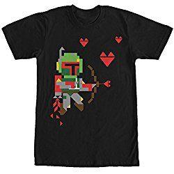 Star Wars Valentine's Day Boba Fett Cupid Mens Graphic T Shirt