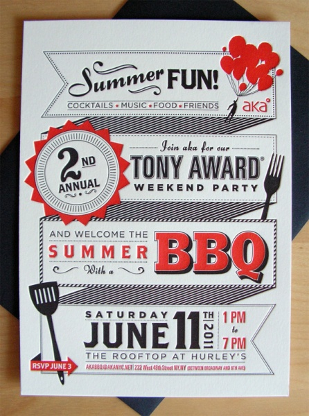 BBQ invitation.  Wish I could do something like this!