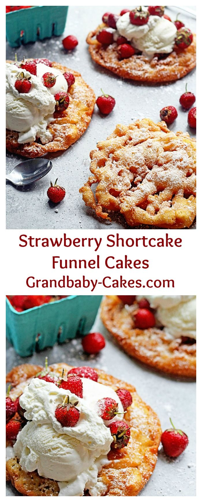 Strawberry Shortcake Funnel Cakes | Grandbaby-Cakes.com