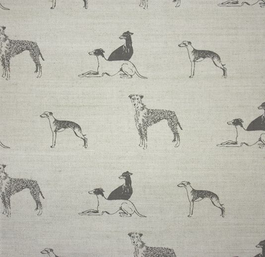 Long Dog untreated linen fabric featuring whippets, lurchers and greyhounds hand printed in steel grey.