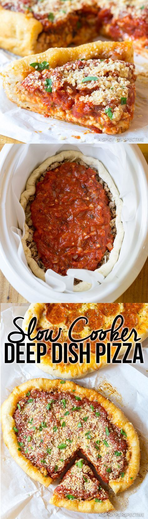 Slow Cooker Deep Dish Pizza Recipe (Chicago Style!) | http://ASpicyPerspective.com