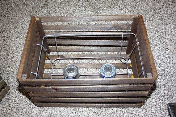 This is a rustic wooden crate that can be used for holding chafing pans, it will hold water pans up to 6 deep and a food pan up to 4 deep. The price is for the crate and the wire insert. (water pan, food pan,lid and burner fuel are not in included).