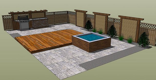 Deck Design: Privacy Screens, Outdoor Kitchen and Hot Tub | Flickr - Photo Sharing!