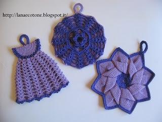 Lana e Cotone (maglia e uncinetto): Presine all'uncinetto