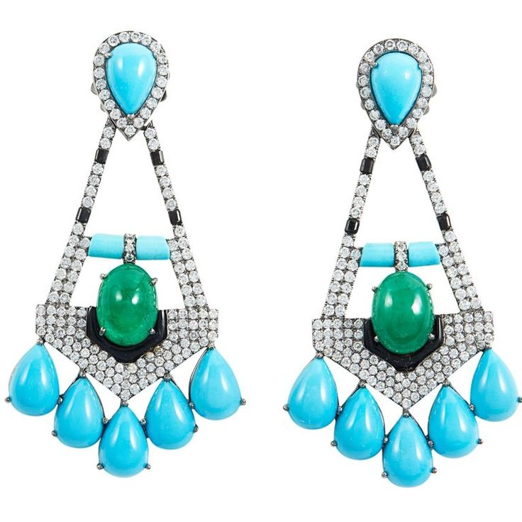 SAM.SAAB Turquoise and Yellow Gold Chandelier Earring | From a unique collection of vintage chandelier-earrings at https://luigi.1stdibs.com/jewelry/earrings/chandelier-earrings/