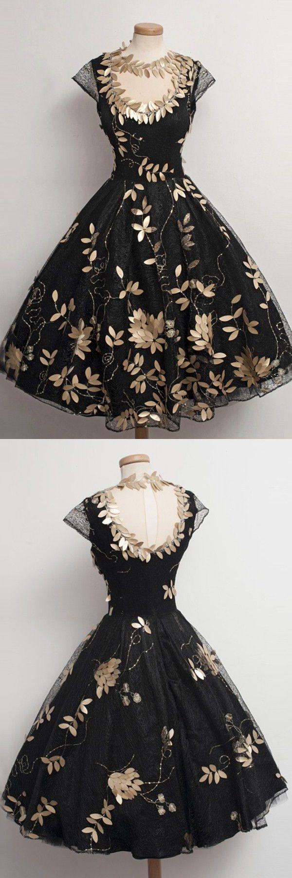 black short vintage homecoming dresses, 2017 homecoming dresses, cheap cap sleeves short prom dresses