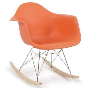 Modern Eames RAR Style Mid-Century Molded Rocking Shell Arm Chair Rocking Retro Lounge in Beautiful Orange