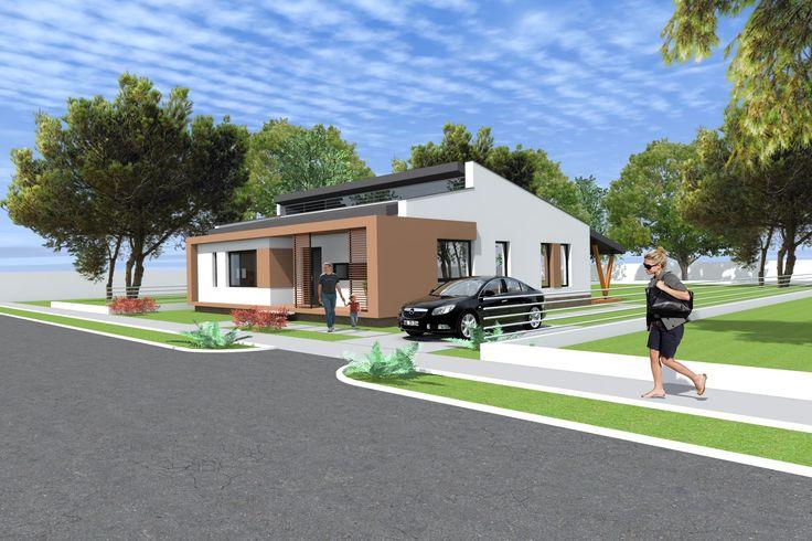 Casa moderna pe parter  133 metri patrati Proiect realizat cu Archicad  ...