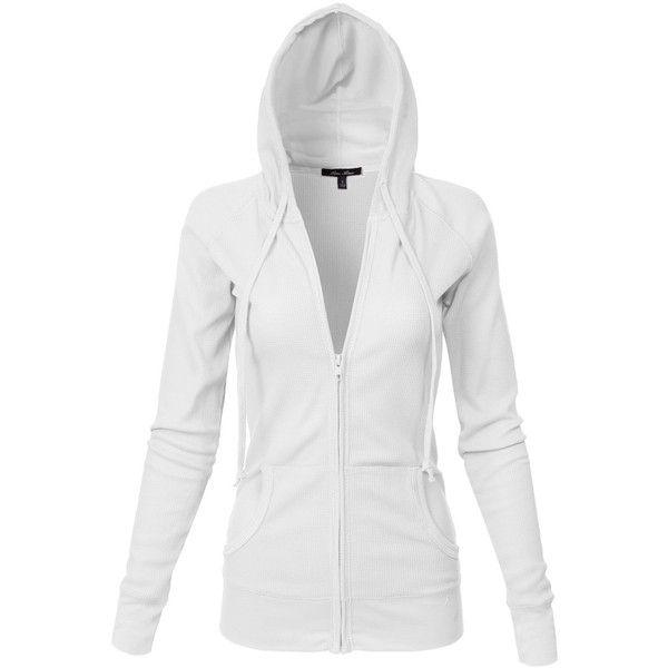Plus Size Basic Kangagoo Pocket Thermal Knit Hoodie Jackets, White XL... ($20) ❤ liked on Polyvore featuring tops, hoodies, sweatshirt hoodies, white hooded sweatshirt, white hoodies, hooded pullover and women's plus size hoodies