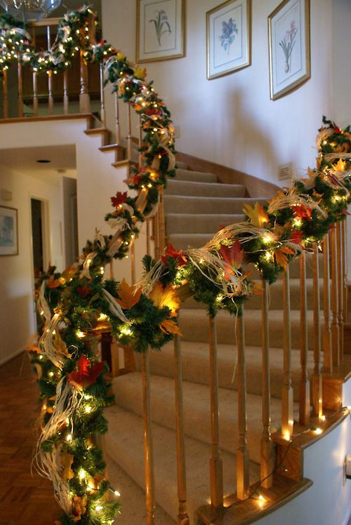Fall staircase decorarations