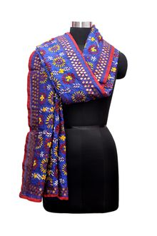 Utopian - Kadhai Handicrafts Purple pure chanderi hand work heavy phulkari embroidered dupatta