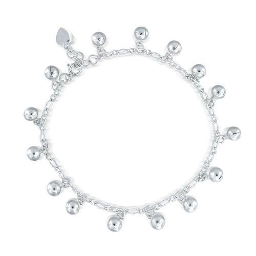 925 Sterling Silver Jingling Bell Bead Charm Anklet Bracelet 9in - 10in Adjustable