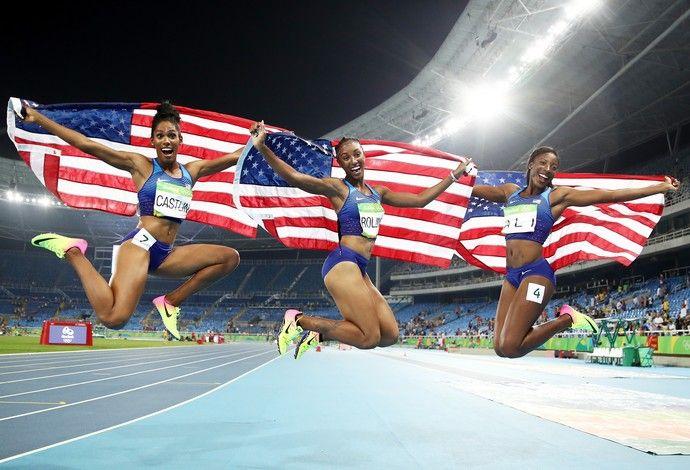 GALERIA - Kristi Castlin, Brianna Rollins e Nia Ali festejam pódio americano no 100m com barreiras (Foto: Cameron Spencer/Getty Images)