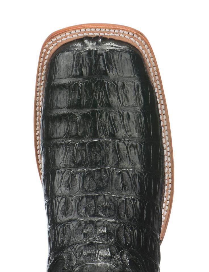 Tony Lama Men's Black Caiman Tail Exotic Square Toe Boots | Cavender's