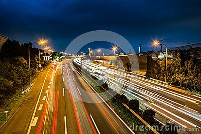 A long exposure shot of the Tomei Express Way in Ayase City as it cuts across Kanagawa Prefecture.