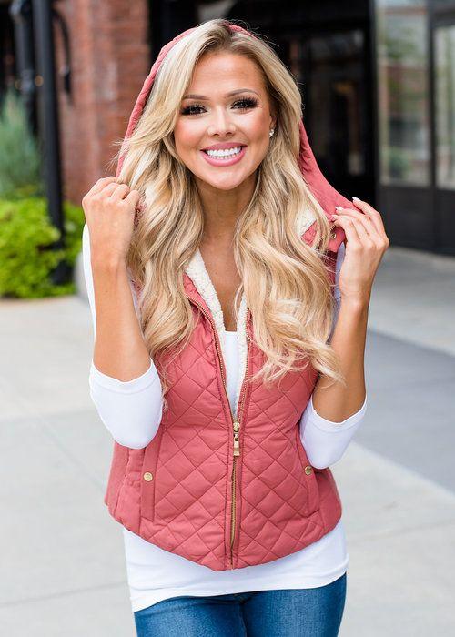 Boutique, Online Boutique, Women's Boutique, Modern Vintage Boutique, Vest, Pink Vest, Hooded Vest, Cute, Fashion