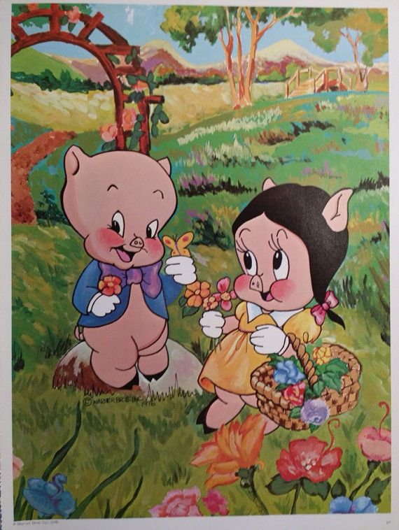 Vintage Porky Pig And Petunia Picnic Poster By OhsgStudio