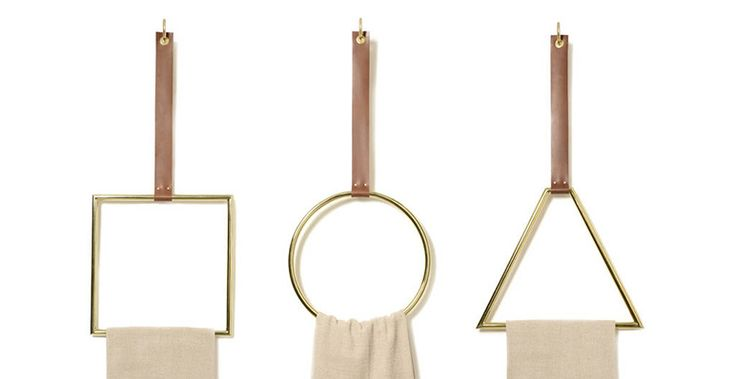 Hung from leather straps available in 3 shapes individually or a set these polished brass rings can be used in a variety of ways from towel holders to textile display rings. Each sold separately. Lead time two weeks.