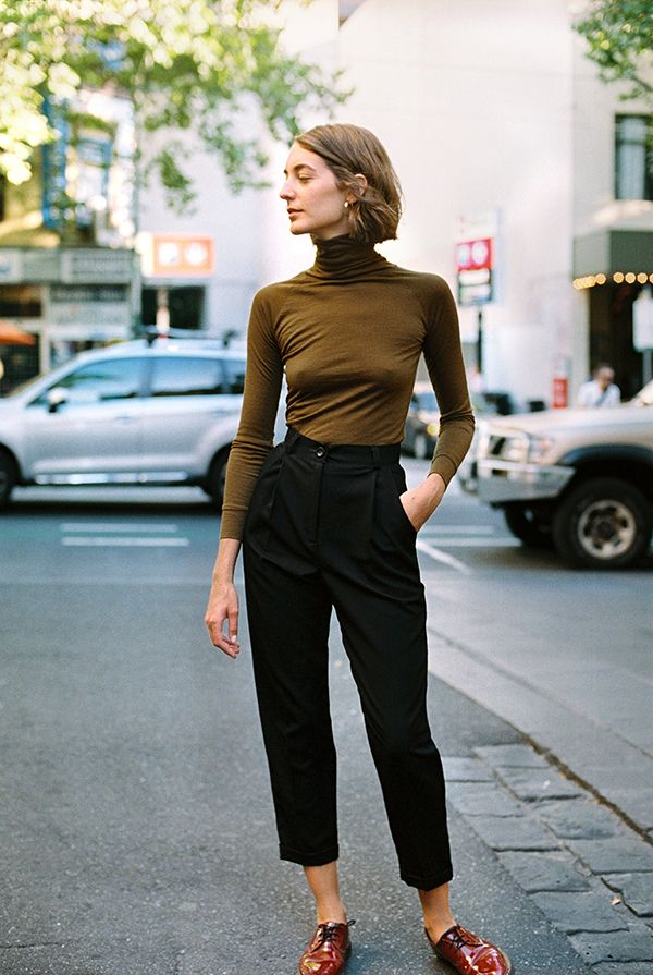 "high waisted pleated cropped ""Alice Ciggie Pants"" by Caves Collect Studio"