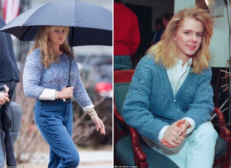 How's this for a Transformation Tuesday ⛸?  Margot Robbie was spotted last Friday in her Tonya Harding get-up on the set of the biopic that she is doing with her director husband Tom Ackerley. Do you think she resembles the disgraced figure skater (check the photo from a 1994 interview)?