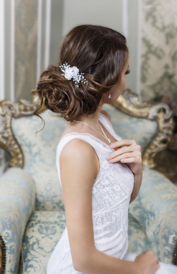 Bridal hair clip Bridal hair flower Wedding hair Flower by TopGracia