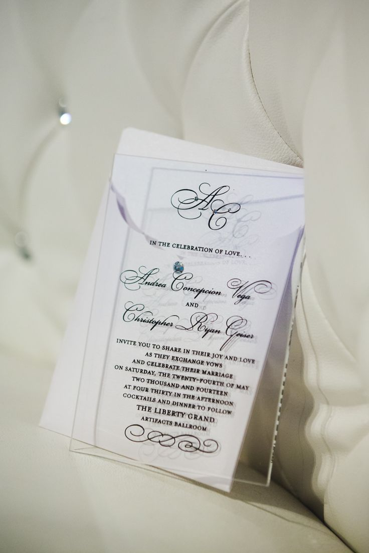 Andrea and Chris' Amazing elegant Glass invitations! http://www.fusion-events.ca/