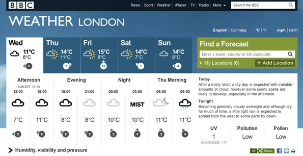 BBC Weather design 1