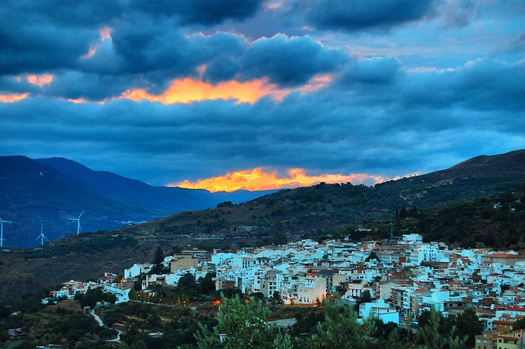 Out of the gloom there's a sun up there somewhere. Lanjaron after the rain