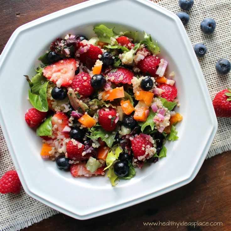 Triple Berry and Quinoa Salad with Mixed Greens | Recipe ...