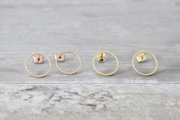STATE OF A  Kleine feine minimalistische Ohrringe matt Gold oder Rosé   Durchmesser 15mm  Nickelfrei