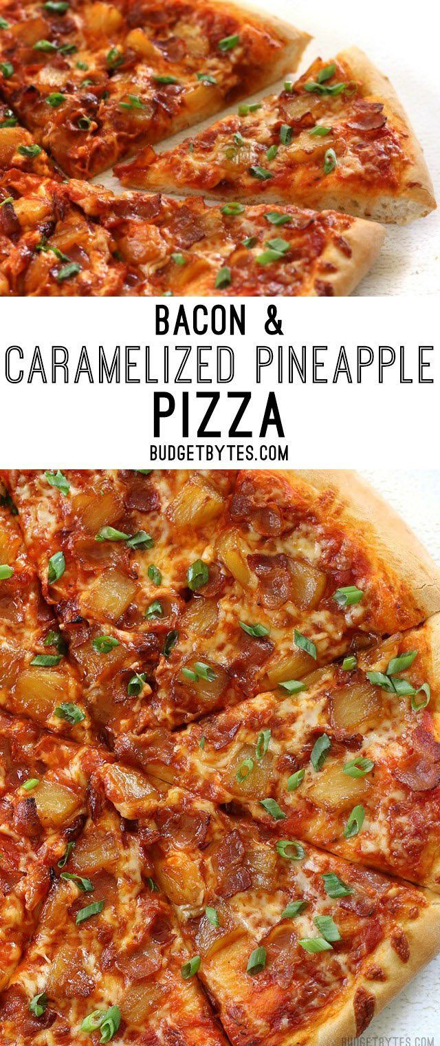 Bacon and Caramelized Pineapple Pizza is everything your sweet and salty dreams are made of. @budgetbytes
