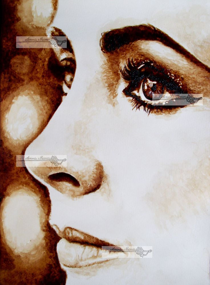 liz taylor coffee painting by aramismarron.deviantart.com on @deviantART - Love the chocolate tones with black