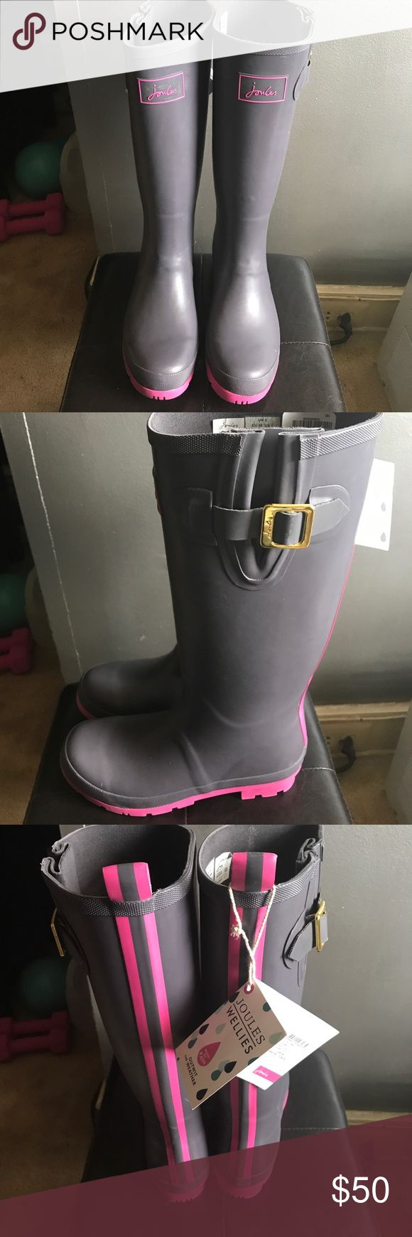 Wellies Rain Boots Purple rain boots with a pink stripe in the back and on the sole. Buckle on the side. Joules Shoes Winter & Rain Boots