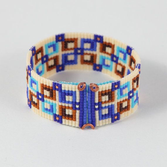 This Square Deal Bead Loom bracelet was inspired by all the beautiful Native and Latin American patterns I see around me in Albuquerque, New Mexico. As with all my pieces, Ive created it on a bead loom with great care and attention to detail. IMPORTANT NOTE: This bracelet measures approximately 6.5 long. Please measure your wrist carefully before order placement, to ensure a proper fit. If 6.5 is not the correct size for you, please contact me for options.  The beads used in this piece are…