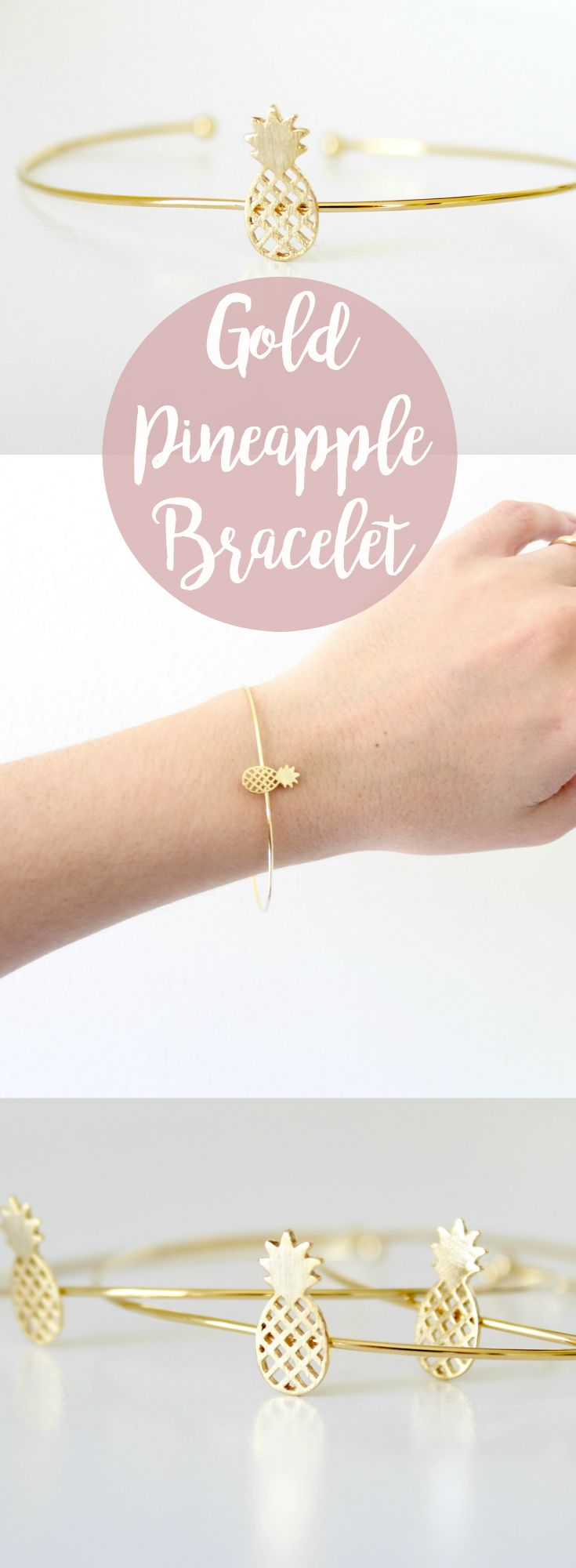 Aloha! Sweet little pineapple bracelet. Perfect minimalist accessory. Or could be perfect for best friend bracelets or gifts! Gold filled and comes packaged in a gift box.   Pineapple jewelry.