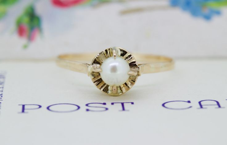 Antique Pearl Engagement Ring | Dainty 18k Rose Gold Ring | Victorian Pearl Ring | Unique Solitaire Ring | June Gemstone Ring | Size 9.25 by FergusonsFineJewelry on Etsy https://www.etsy.com/listing/243640449/antique-pearl-engagement-ring-dainty-18k