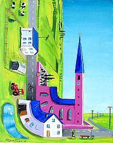 Peter Angermann: 90° Dorf (Krümmung des Raumes), 1984,